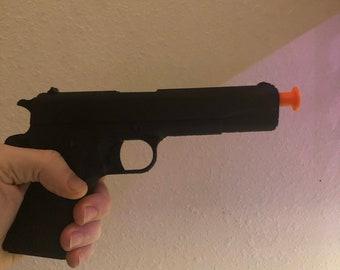 1911 3D printed gun prop with silencer