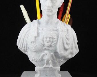 "3D Printed Caesar Bust Pen Holder - 7.5"" Tall"