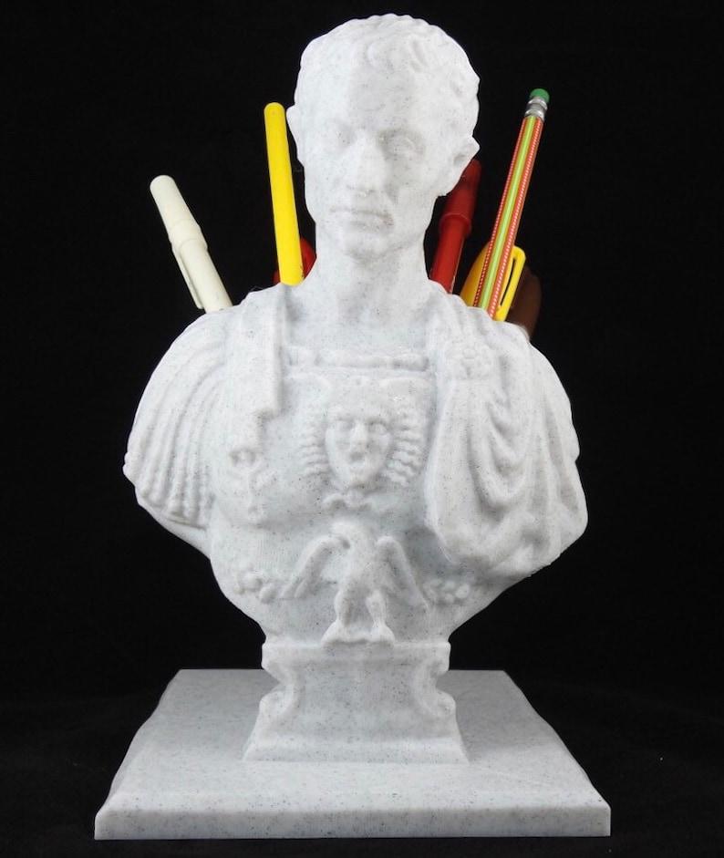 3D Printed Caesar Bust Pen Holder  7.5 Tall image 0