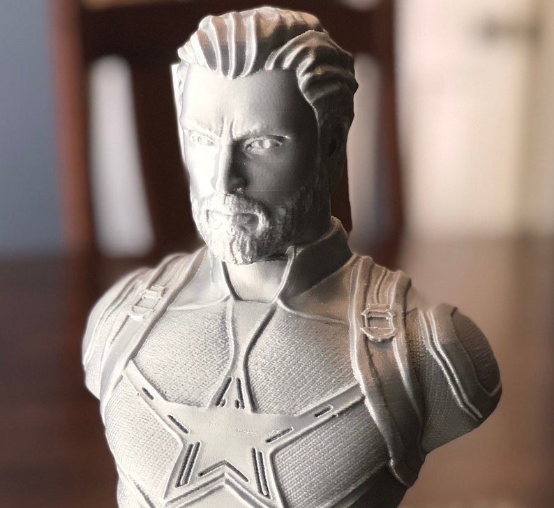 3D Printed Captain America Bust  7.8 Tall image 0