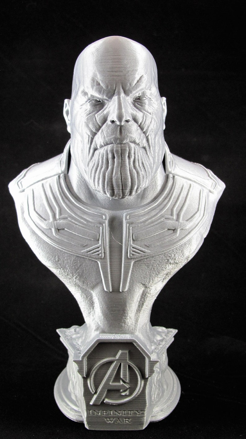 3D Printed Thanos Bust  9 Tall  Silver image 0