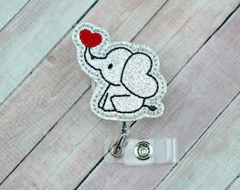 Elephant Badge Reel - Badge Holder - Glitter Badge Reel - Valentine's Day Badge Clip - Retractable ID Badge Holder - Badge Pull
