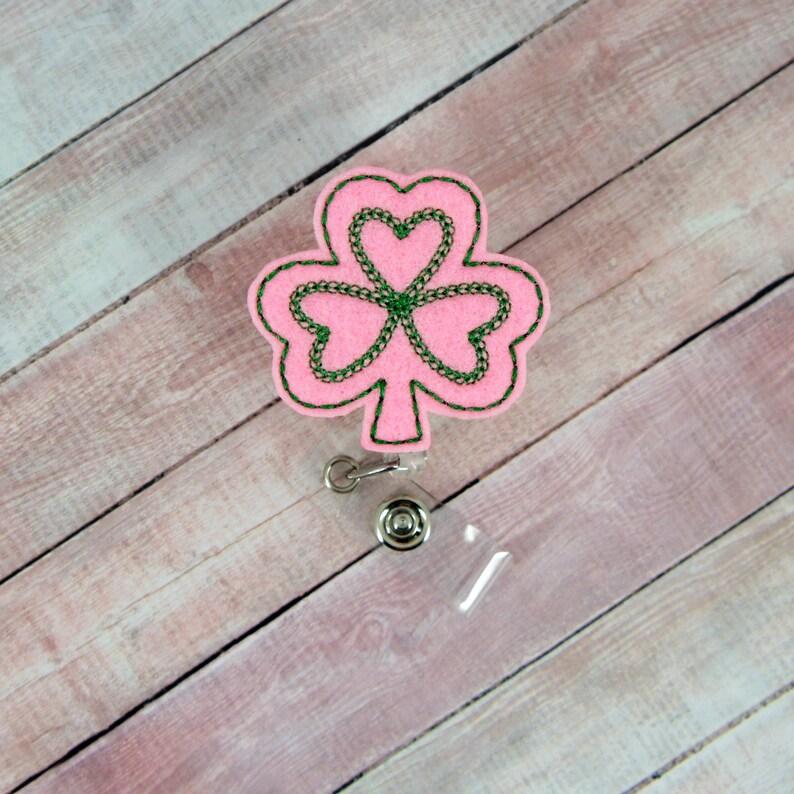 Patrick/'s Day Badge Nurse Badge Reel- Retractable ID Badge Holder Pink Shamrock Badge Reel Shamrock Badge Reel Badge Pull St