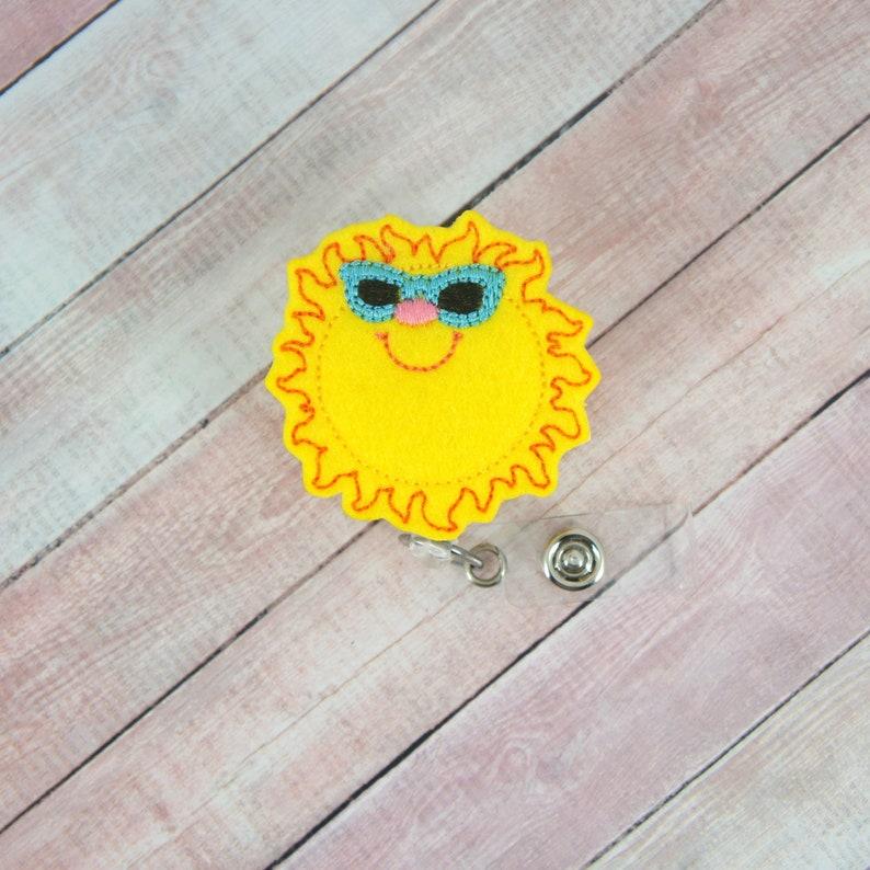 Sun Badge Reel Bright Shades Badge Reel Summer Badge Reel Badge Holder Feltie Badge Reel- Retractable ID Badge Holder Badge Pull