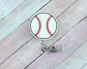 Glitter Baseball Badge Reel - Nurse Badge Reel - Baseball Badge Reel - Retractable ID Badge Holder - Badge Pull - Lanyard