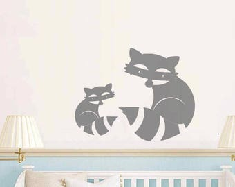 Baby room, nursery raccoons mama and baby