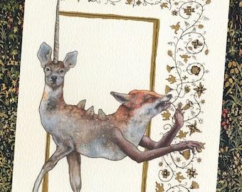 A5 Medieval Hybrid Illustration, Hand Embellished