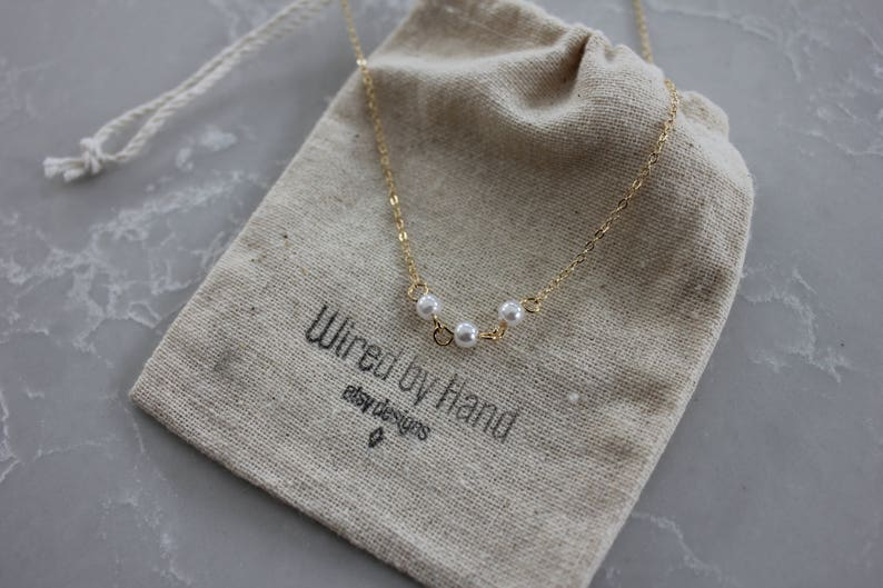 Gifts For Her Dainty Pearl Necklace Three Pearl Necklace Layered Necklace Gold Pearl Link Necklace Delicate Gold Necklace