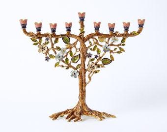 "Jewish Hanukkah Menorah, Flower On Vine. Hand Painted Embellished with Crystals, Housewarming, Home, Chanukah Gift. Judaica, 7.5"" H on 9"" L"