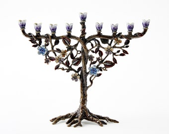 """Hanukkah Menorah Jewish Candle Holder. Flower On Vine, Hand Painted Embellished with Crystals Made From Metal. 7.5"""" High on 9"""" Long Brown"""