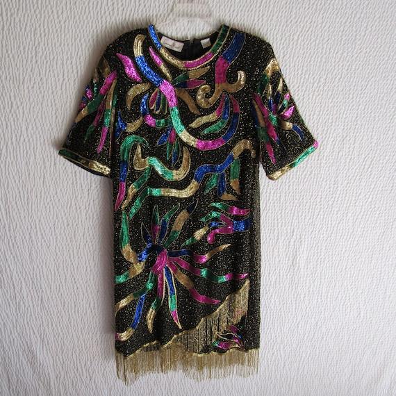 Lawrence Kazar Evening Dress 2X Colorful Gold Frin