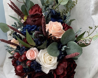 7164a99666 Cascading Wedding Bouquet Burgundy Navy Blue Red Peony Eucalyptus Wedding  Maroon Package Handmade Artificial Faux Flowers Wedding Decor