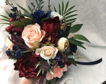 Burgundy bouquet etsy wedding bouquet burgundy navy blue red peony eucalyptus wedding maroon package handmade artificial faux flowers wedding decor mightylinksfo