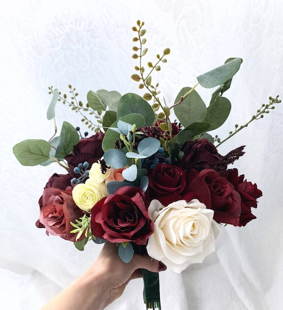 Mariée Artificielle Mariage Fleurs Bordeaux Or Mousse Rose Bouquet Posie asiatique
