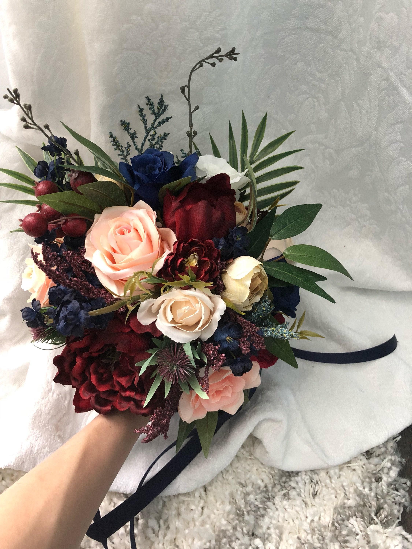 Wedding Set Bouquet Burgundy Navy Blue Red Peony Eucalyptus Etsy