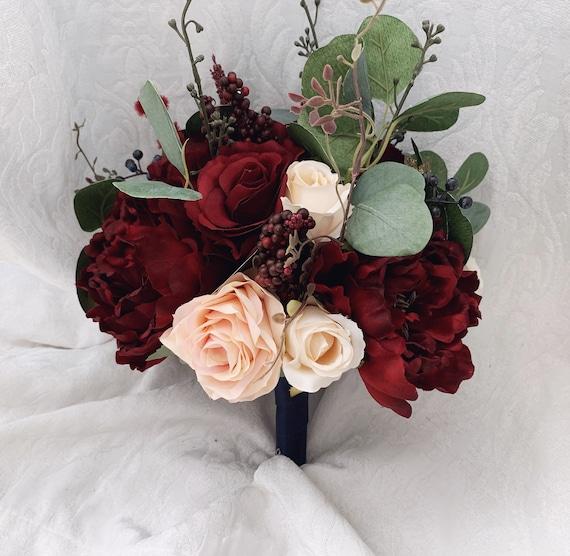 Boho Wedding Bouquet Burgundy Navy Eucalyptus Wedding Maroon Etsy