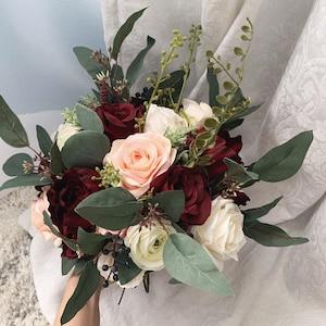 Boho Wedding Bouquet Burgundy Blush Eucalyptus Wedding Maroon Bouquet Deep Red Flowers Blush Cream Navy Flowers Wedding Style Dusty Rose