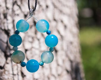 Blue Agate and Glass Necklace