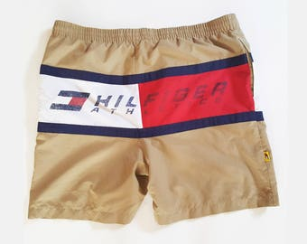 c3273d2568 80s Tommy Hilfiger Graphic Swim Trunks Size L, Swim Shorts Retro Color  Block, Vintage Swim Trunks