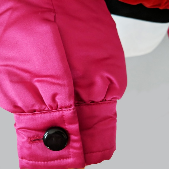 Escada Pink Red Button Down Bomber Jacket, Silk V… - image 4