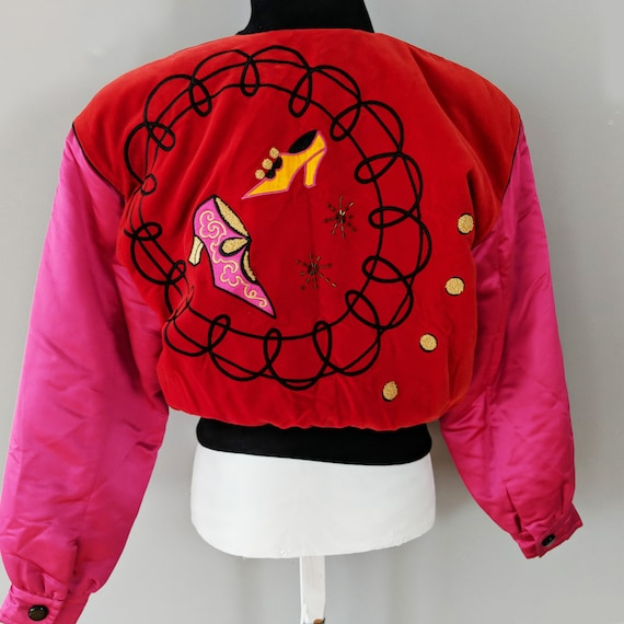 Escada Pink Red Button Down Bomber Jacket, Silk V… - image 3
