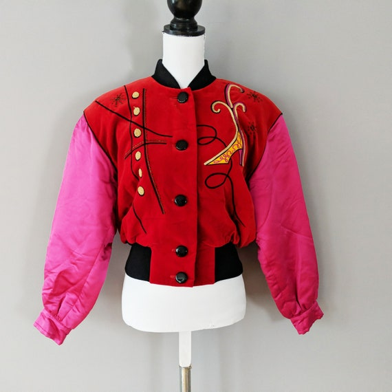 Escada Pink Red Button Down Bomber Jacket, Silk V… - image 1