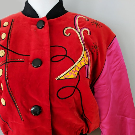 Escada Pink Red Button Down Bomber Jacket, Silk V… - image 2