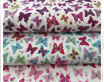 Cotton Fabric Butterflies Pink Purple Turquoise Fat Quarter Metre Free delivery Crafting Sewing 100% Cotton Fabric Handmade Projects