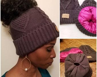 Perfectly Zen SATIN LINED PONYTAIL Messy Bun Knit Beanie Winter Ski Hat Cap aaecb5f33b35