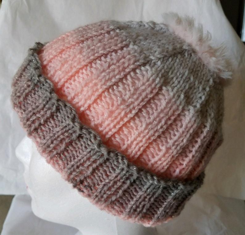 BUN HAT with furry yarn