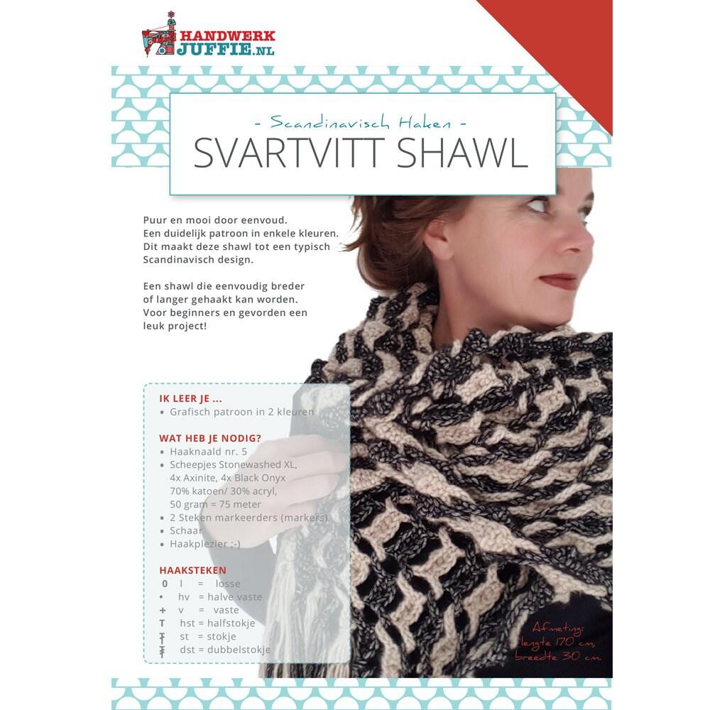 Haakpatroon Svartvitt Shawl Etsy