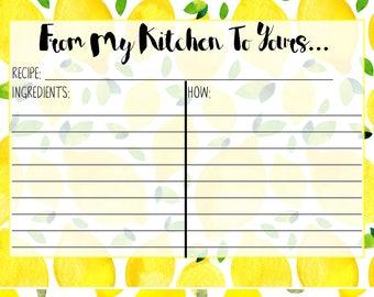 Lemon Printed Recipe Card 5X7