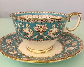 """Crown Staffordshire  Fine  Bone China Cup & Saucer """"Ellesmere""""   Turquoise and  White"""
