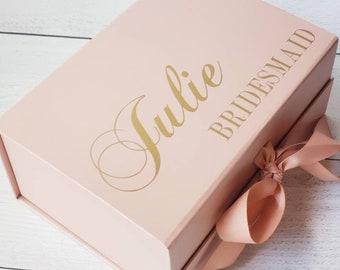 Rose Gold Monogrammed Baby Girl Gift Box