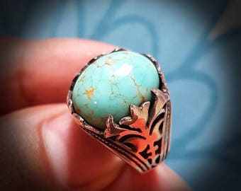 Afghan Turquoise Silver Ring. Filigree themed. Men's ring/Ladies ring, size US 7.75