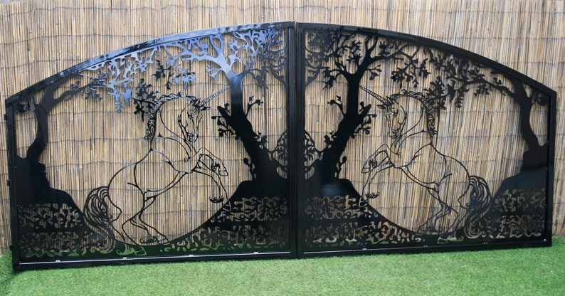 Artistic Steel Driveway Gate – Unicorn Design – Decorative Steel Panel –  Modern Architectural Panels – Handmade – Landscape Design