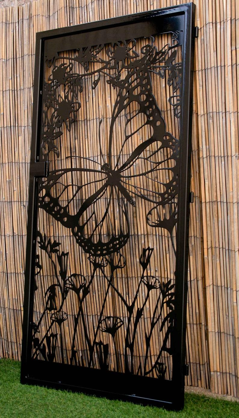 Floral Artistic Metal Gate - Butterfly Decorative Steel Gate - Flower Art  Wall Panel - Driveway Gate - Outdoor Steel Art