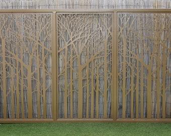 Artistic Steel Driveway Gate – Tree, Forest Design – Decorative Panel – Modernist Fence Panels – Handmade & Customizable