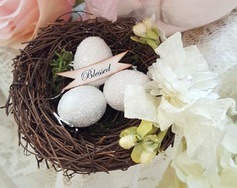 Small Shabby Chic Easter Blessed Nest With Ivory Eggs Spring Bird Nest With Glitter Eggs and Ivory Flowers Easter Nest Spring Party Decor