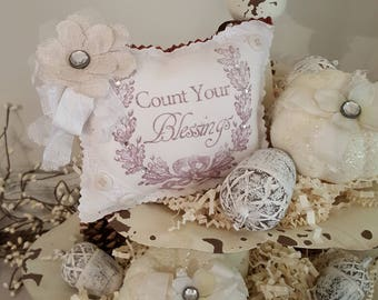"""Fall """"Count Your Blessings"""" Lavender Sachet With White Ribbon and Rust Back"""