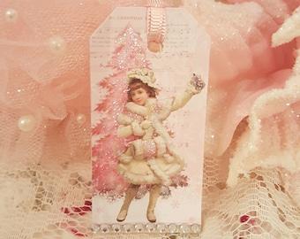 124b342e42099 Pink christmas tags   Etsy