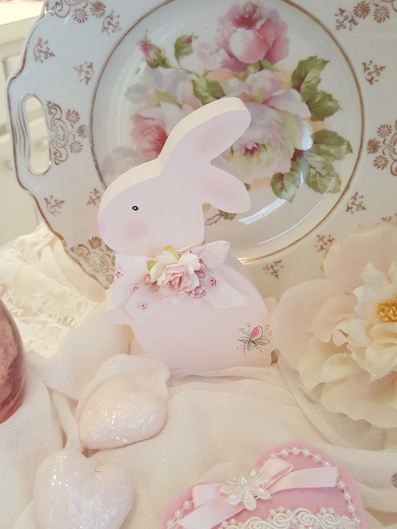 Vintage Shabby Chic Hand Painted Pink Wood Bunny Sweet Pink Easter Bunny With Hand Painted Roses March Hare Vintage Easter Rabbit Pink Roses