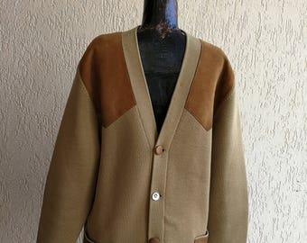 Men's Cardigan Jacket Beige 50s