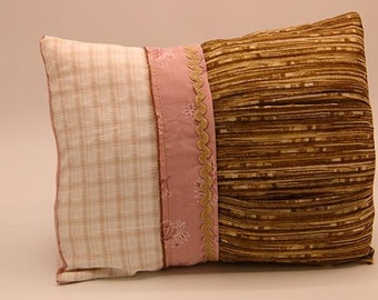 Vintage Pillow - Tan & Pink