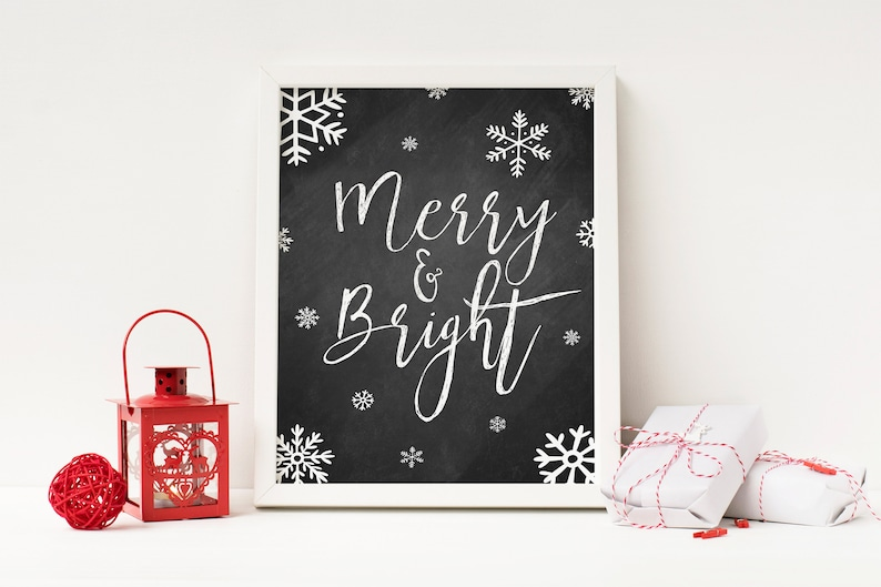 picture relating to Christmas Printable Decorations named Merry and Dazzling - Xmas Printable - Xmas Decorations - Xmas Items - Xmas Decor - Stocking Stuffer - Xmas Chalkboard