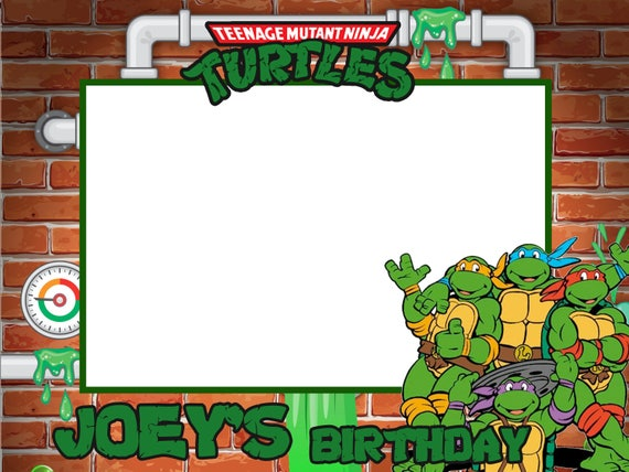 Tmnt Birthday Party Frame Sticker For Diy Frame Frame Prop Etsy