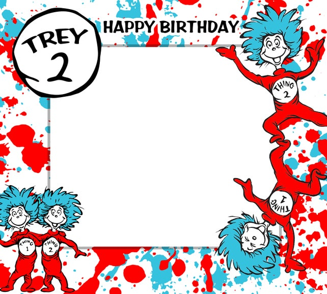 Thing 1 Birthday Frames Thing 1 Thing 2 Photo Booth Frame Etsy