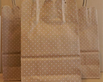 5 Paper Kraft Polka Dot Favor/ Gift Bags With Handles