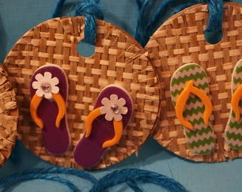8 Summer flip flop Gift Tags / 2 Inches