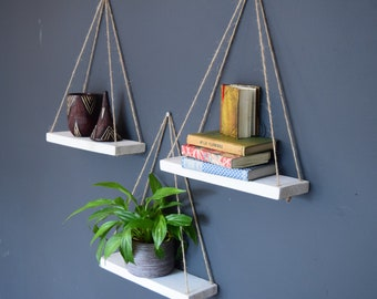 Set of Three Floating Reclaimed Wooden Shelves in distressed White. Rustic, Handmade, Hygge, Bedroom, Living, Dining, Bathroom, Birthday.